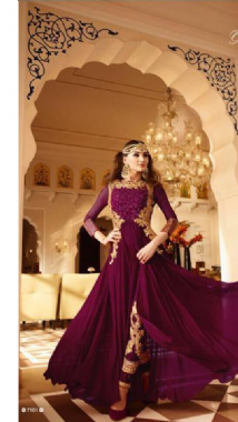 Purple Suit With Embellished Churidar